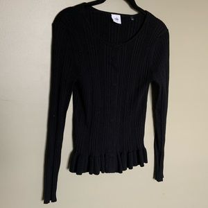 CAbi black snap down peplum cardigan S